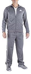 Vertical Sport Men\'s 2 Piece Jacket Pants Track Suit JS10 (Large, Gray)