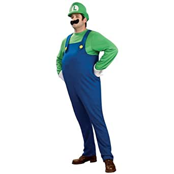 Rubies Costume Company Mens Super Mario Bros. - Deluxe Luigi Adult Plus Costume
