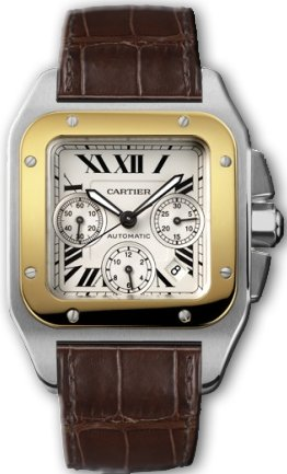 Cartier Santos 100 18kt Yellow Gold and Steel Chronograph XL Mens Watch W20091X7