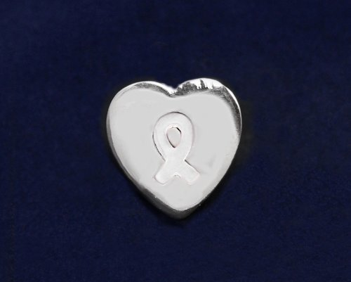 White Ribbon Pin-Heart Tac Pin (50 Pins)