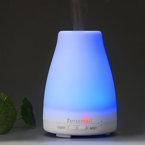 Essential Oil Diffuser Tenswall Ultrasonic Aroma Cool Mist 100ml Aromatherapy Humidifier with 7 Color LED Lights Changing for Home Office Bedroom