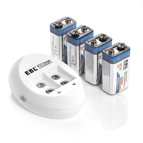Ebl® 840 9V Battery Charger With 4 Pack 600Mah Li-Ion Rechargeable 9 Volt Batteries