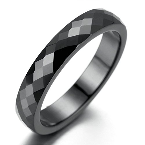 Stainless Steel Ring for Men, Grid Ring Gothic Black Band 4MM Size 10 Epinki
