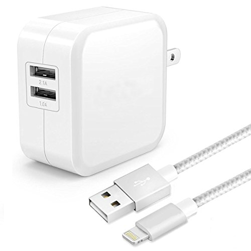 ONSON iPhone Charger,Dual USB Portable Travel Wall Charger,Foldable Plug with 6FT Long Lightning Cable Charging Cord for iPhone 7/7 Plus/6S Plus/6/6 Plus/5/5S/5C/SE,iPad Pro/Air/mini,ipod(White (Ipad Mini Charger compare prices)