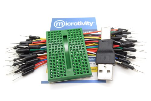 microtivity IB178 170-point Mini Breadboard for Arduino w/ Jumper Wires & USB Adapter (Green Edition)