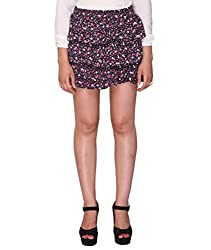 Bedazzle Black Floral Print Women's Tiered Skirt