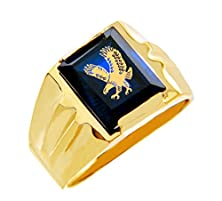 buy Fine 14K Yellow Gold Blue Sapphire Cz Stone American Eagle Ring For Men (Size 5)