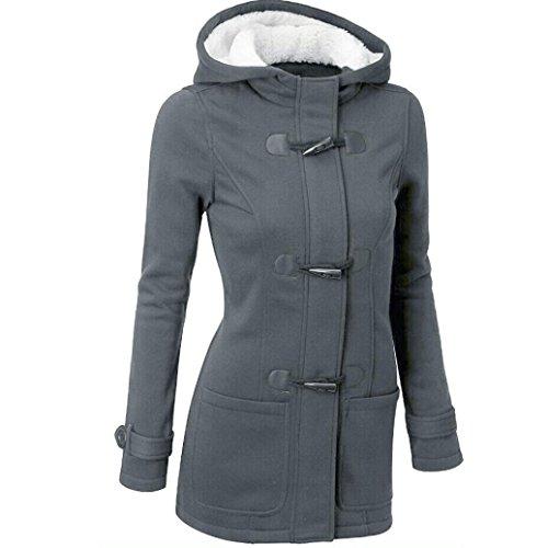 donne outwear, FEITONG giacca a vento trincea sottile lungo cappotto di lana calda (S, Grigio scuro)