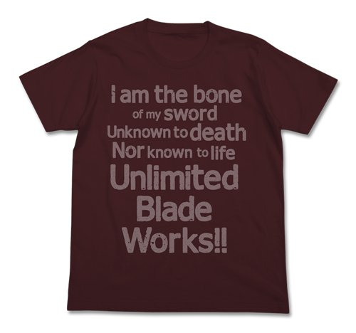 Fate/stay night Unlimited Blade Works Tシャツ バーガンディ Mサイズ