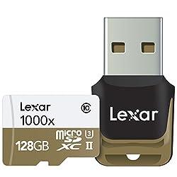 Lexar Professional 1000x microSDXC 128GB UHS-II/U3 (Up to 150MB/s Read) W/USB 3.0 Reader Flash Memory Card LSDMI128CBNL1000R