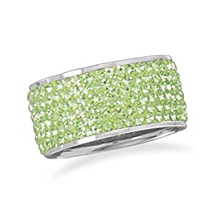 10.5mm Sterling Silver and Green Crystal Band - Size N 1/2 Ring - JewelryWeb