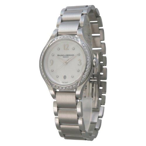 Baume & Mercier Ilea Ss Quartz White Shell Bezel Diamond Ladies Watch MOA08772