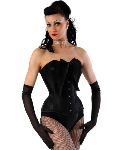 What Katie Did Black Raw Silk Storm Overbust Corset L4089