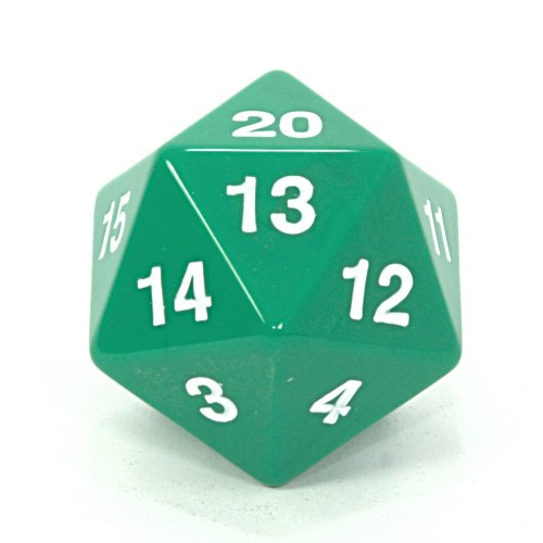 1 X Koplow 55mm Jumbo d20 Opaque Countdown Dice, Green with White