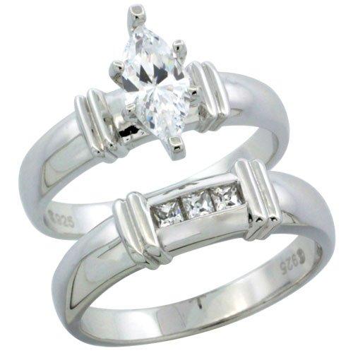 Sterling Silver Diamond Simulant 5mm Ladies Bridal Set