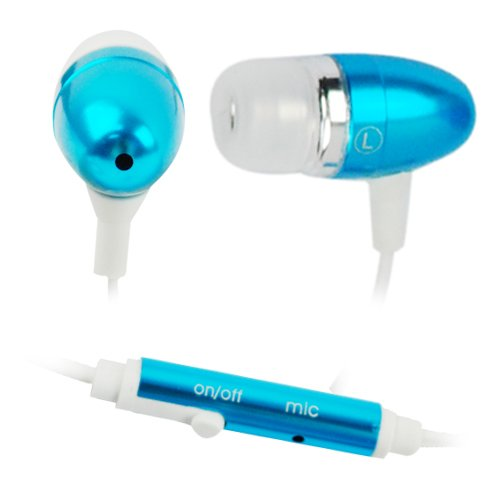GTMax Blue 3.5mm Metal Stereo Headset Handsfree Soft Gel Earbud with Microphone + Blue Neck Strap for Samsung Galaxy Exhibit (2013), Galaxy Mega 6.3, Galaxy S IV / S4