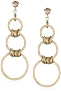 Duragold 14k Yellow Gold Textured Three Circle Drop Earrings
