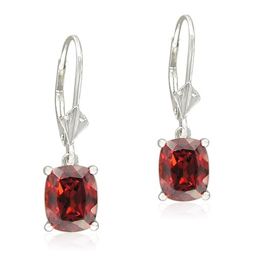 Sterling Silver Cushion-Cut Created Garnet Dangle Earrings