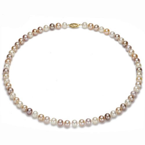 14k Yellow Gold 7-8mm Pink Multi-color Freshwater Pearl Necklace 18