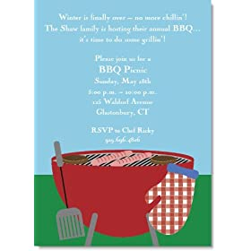 Outdoor Grilling Party Invitations