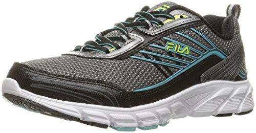Fila Women's Forward 3 Running Shoe, Dark Silver/Black/Aruba Blue, 8 M US