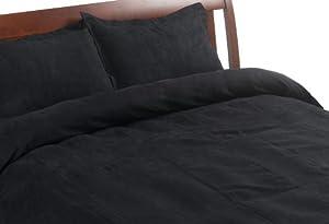Microsuede Full/Queen 3-piece Duvet Set, Black