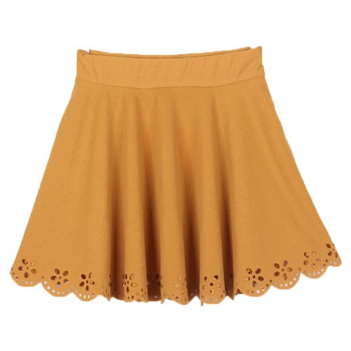 European Summer Fashion Women'S Mini Skirt Lace Pleated Short Dress (Yellow)