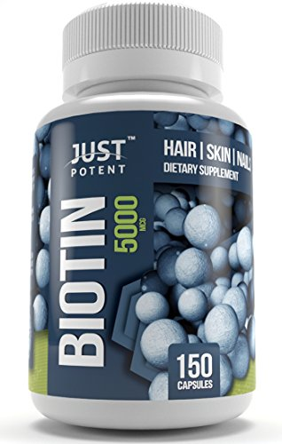 Biotin Supplement by Just Potent :: 5,000 MCG :: Hair :: Skin :: Nails :: 150 Capsules :: 5-Month Supply