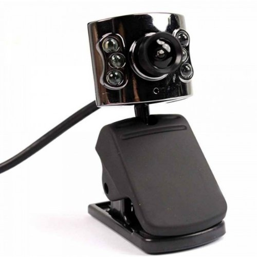 1 3Mp Usb Hd Pc Webcam With 6 Led And Microphone Black