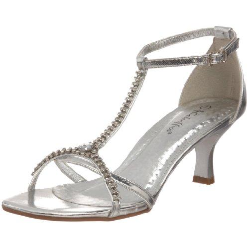 Coloriffics Women's Ava T-Strap Sandal,Silver,9.5 M US