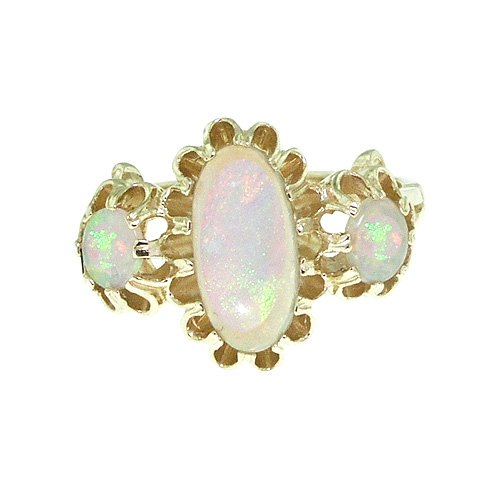 Large Luxury Solid 14K Yellow Gold Natural Fiery Opal Victorian Inspired Ring - Size 9.25 - Finger Sizes 5 to 12 Available - Perfect Gift for Birthday, Christmas, Valentines Day, Mothers Day, Mom, Mother, Grandmother, Daughter, Graduation, Bridesmaid.