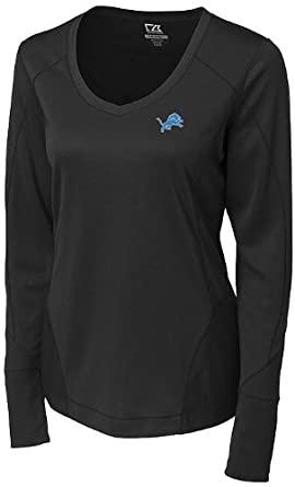 NFL Detroit Lions Ladies CB DryTec Long Sleeve Mogul V-neck Shirt, Black, Small by Cutter & Buck