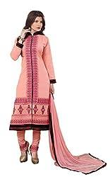 Suchi Fashion Peach Embroidered Cotton Dress Material