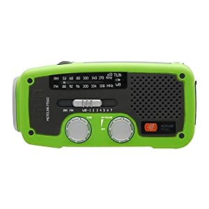 Etn FR160GR Microlink Self-Powered AM/FM/NOAA Weather Radio with Flashlight, Solar Power and Cell Phone Charger (Green) (Discontinued by Manufacturer)