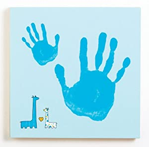 Pearhead Baby and Me Handprint Canvas Kit, Blue Giraffe
