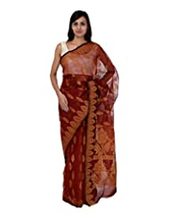 A1 Fashion Women Brasso & Net Red Saree With Blouse Piece - B00VUS2HWK