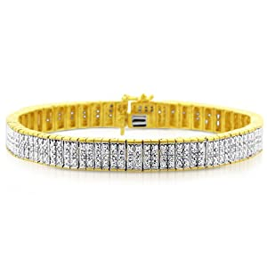 Sterling Silver Two-tone 1.00 Carat Diamond Bracelet- Size 7""