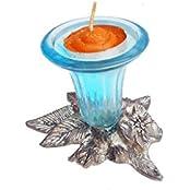 Susajjit Glass Tealight Candle Holder - (9.5 X 8.5 X 8 Cm, Blue)
