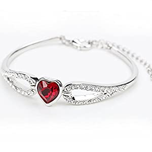 AngelBliss Female Austrial Crystal Simlpe Heart Jewelry Charm Design Bracelets Christmas Gift(Red)