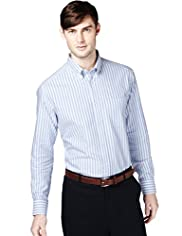 XXXL Pure Cotton Wide Striped Oxford Shirt