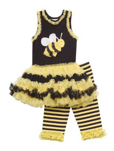 Rare Editions Little Girls' Bumble Bee Tutu Dress Costume & Leggings
