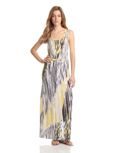 Evolution by Cyrus Women's Sleeveless Maxi Dress Contrast Zip And Belt, Concrete Jungle, X-Large