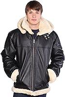 Wilda Men's B-3 Bomber Leather Jacket - Faux Fur Throughout