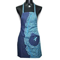 NSSTAR Fashion Classic Cotton Jeans Grid Pattern Womens Chefs Kitchen Cooking Cook Bib Apron with Pocket Great Gift For Wife Mothers Daughters Ladies
