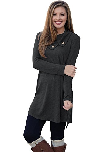 Our Precious Womens Long Sleeve Button Lapel Neck Sides Slit Shirt Dress Black S (Tunic Tops For Juniors compare prices)