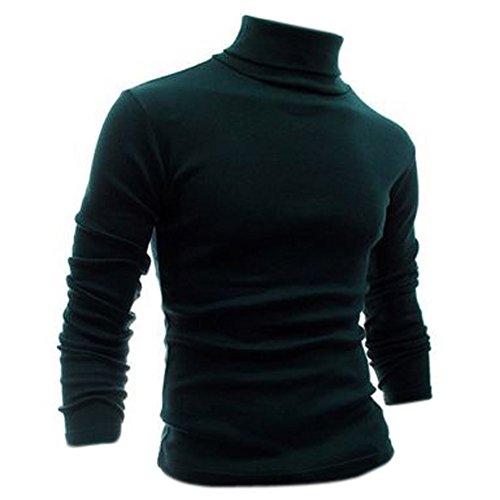 SODIAL (R) Moda Autunno Inverno maglione dolcevita shirt fantasia tinta unica Pullover da uomini verde scuro M