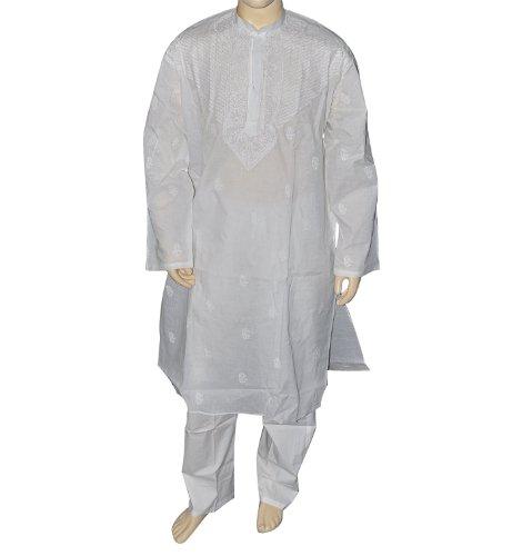 Indian Kurta Pajama White Chikan Work Embroidery on Neck Chest Size : 129.54 cms