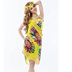 Fascinating Lingerie Womens Swim Cover-Ups & Sarongs (Flplsyglfs001 _Yellow Coloured Floral _Free Size)