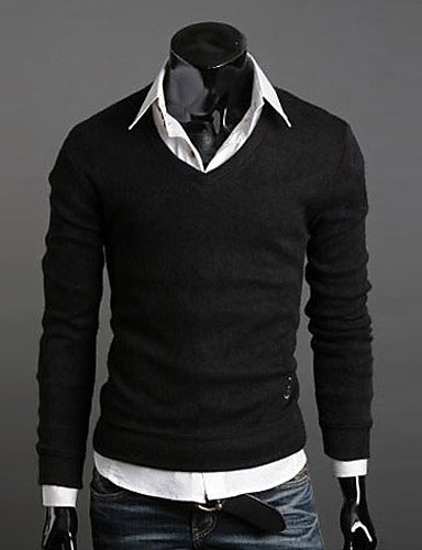 XXGX-Pulls-Acrylique-Coton-biologique-Viscose-Vintage-Informel-Travail-Rond--Manches-longues-pour-Homme