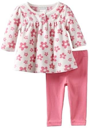 Babyworks Baby-Girls Newborn Micro Fleece Flower Clothing Set, Pink, 3-6 Months